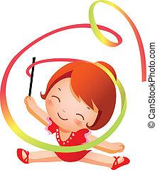 rítmico, ginasta, menina, prática, pe