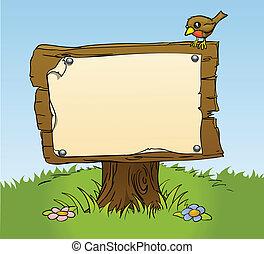 rústico, madeira, sinal