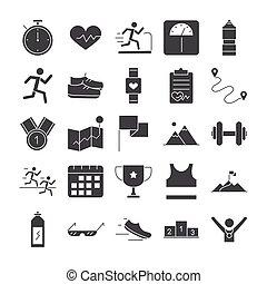 raça, executando, desenho, desporto, jogo, ícones, linha