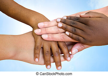 raças, human, hands., associando