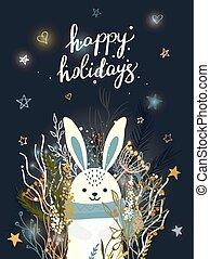 rabbit., saudação, inverno, cartão, natal, vetorial, ilustração, modelo