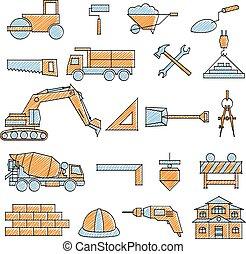 rabiscado, jogo construção, ícone