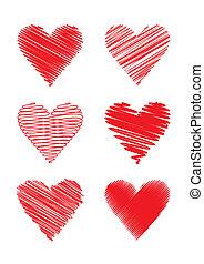 rabiscado, (vector), corações