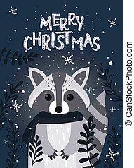 raccoon., inverno, saudação, cartão natal, vetorial, ilustração, modelo