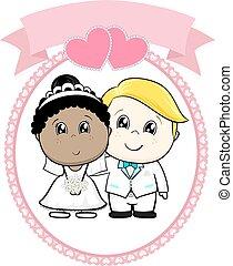 racial, enterre, caricatura, casório
