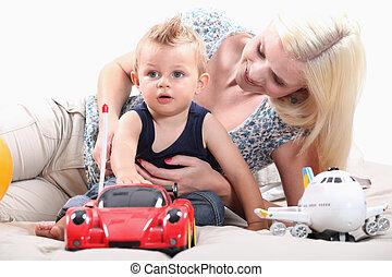 radio-controlled, menino, pequeno, car