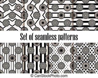 raias, zig, cítrico, padrão, set., ornament., seamless, ilustração, experiência., vetorial, pretas, zag, frutas