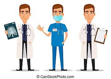 raio x, profissional, waving, mão, doutor, tiro, jogo, área de transferência, jovem