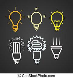 raios, cor, luz, cobrança, silhuetas, lâmpadas
