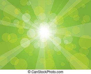 raios sol, experiência verde, ilustração