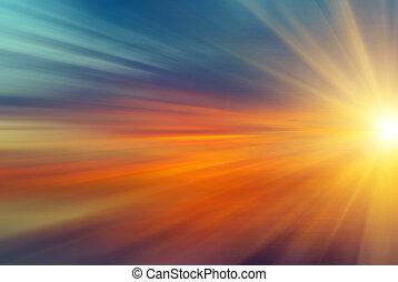 raios sol, pôr do sol
