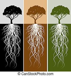 raiz, jogo, bandeira, vertical, árvore