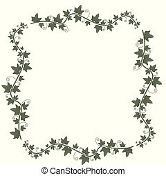 ramo, ilustração, floral, videiras, frame., vetorial, verde, vine., hera, leaves., planta