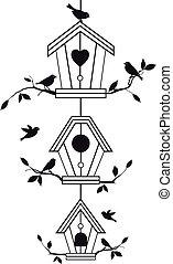 ramos, birdhouses, árvore