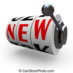 ranhura, palavra, máquina, inovação, novo, rodas, mudança