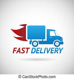 rapidamente, silueta, símbolo, despacho, entrega, vetorial, caminhão, ilustração, modelo, desenho, ícone
