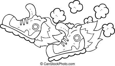 rapidamente, sneakers, pretas, branca, super, caricatura