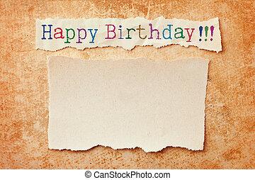 rasgado, grunge, bordas, aniversário, experiência., cartão papel, feliz