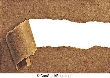 rasgado, texto, papel, espaço, mostrando
