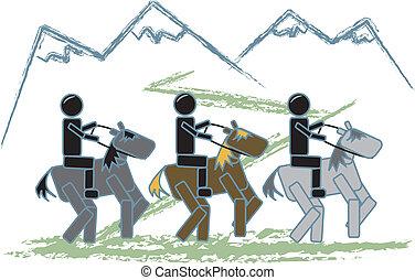 rastro, figuras, vara, montando