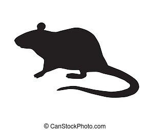 rato, vetorial, apartamento, ficar, silueta, pretas