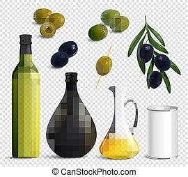 realístico, azeitonas, óleo, jogo, transparente