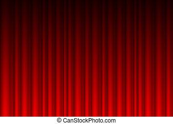 realístico, cortina vermelha