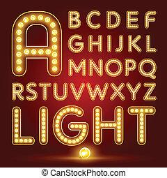 realístico, jogo, alfabeto, lâmpada