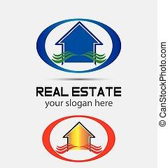 real, casa, companie, propriedade, logotipo