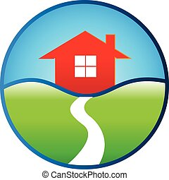 real, casa, desenho, propriedade, logotipo