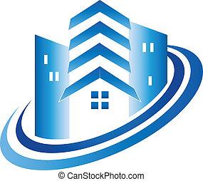 real, casa, edifícios, propriedade, logotipo
