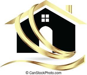 real, casa, luxo, propriedade, logotipo