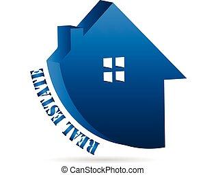 real, casa, propriedade, negócio, logotipo