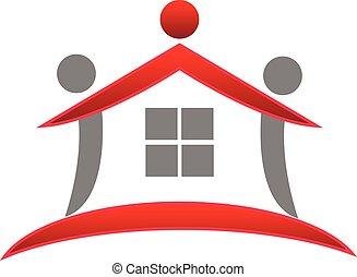 real, casa, trabalho equipe, propriedade, logotipo