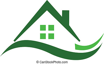 real, casa, verde, propriedade, logotipo