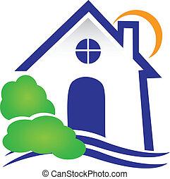 real, casa, vetorial, propriedade, logotipo