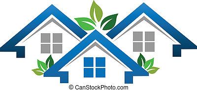 real, casas, companhia, propriedade, logotipo