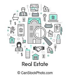 real, jogo, propriedade, ícones, agente, casas, vetorial, linha magra