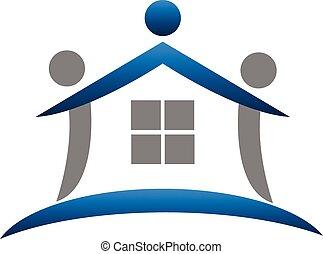 real, logotipo, trabalho equipe, propriedade, casa