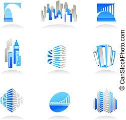 real, logotipos, propriedade, ícones, /, construção