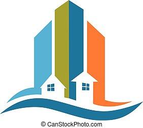 real, modernos, logotipo, edifícios, propriedade
