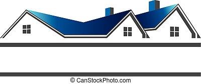 real, telhados, logotipo, propriedade, casas