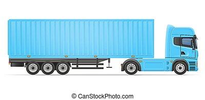 reboque, vetorial, caminhão, ilustração, semi