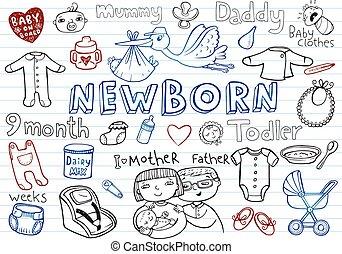 recem nascido, doodles, jogo