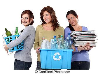 reciclagem, desperdício, doméstico, mulheres