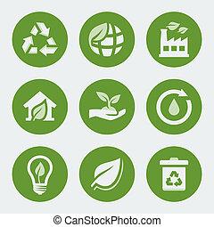 reciclagem, jogo, ecologia, vetorial, ícones