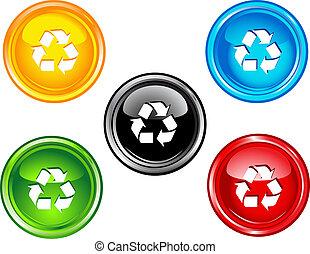 recicle, botões