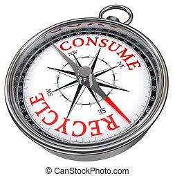 recicle, contra, conceito, consumir, compasso