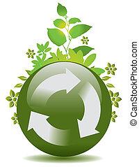 recicle, globo, verde, símbolo