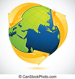 recicle, terra, símbolo, ao redor